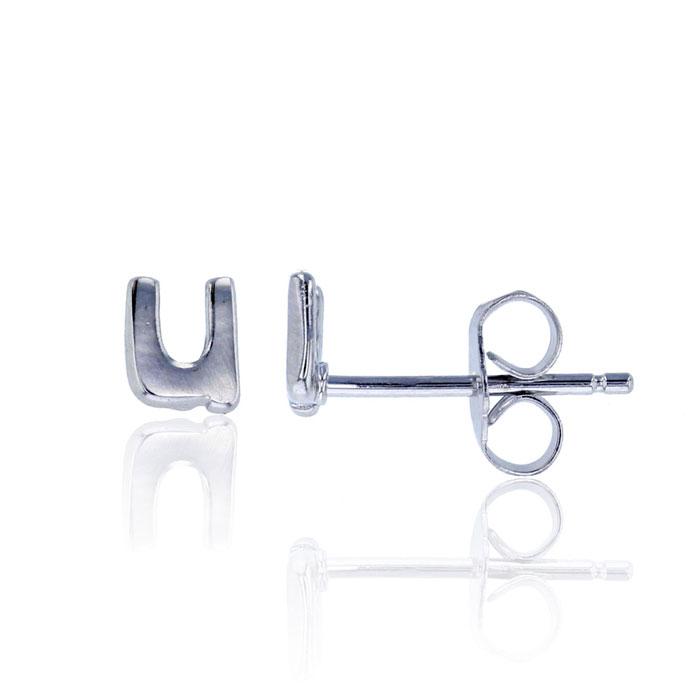 Sterling Silver Lowercase U Initial Stud Earrings