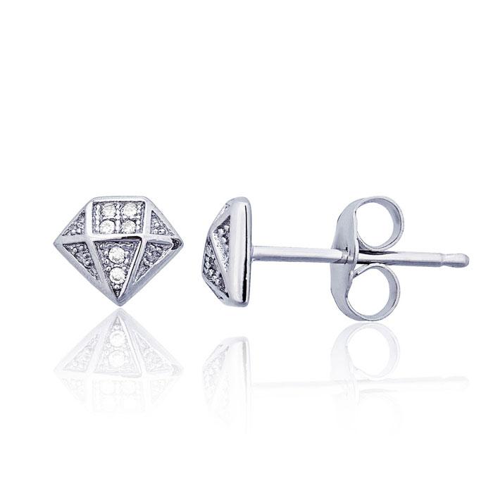 Children's Sterling Silver Embellished Diamond-shape Stud Earrings