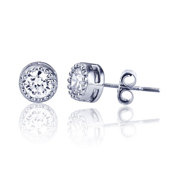 Children's Sterling Silver Embellished Solitaire Stud Earrings