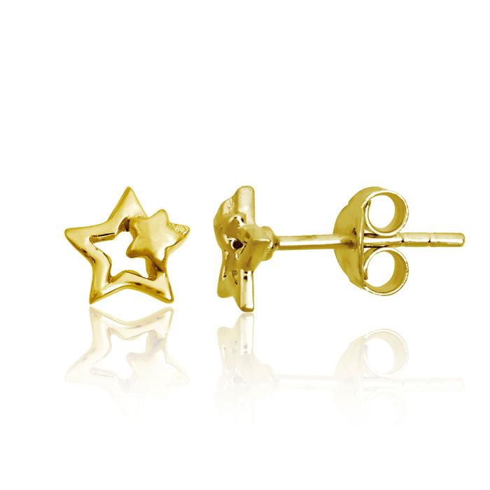 Children's Yellow Gold Over Sterling Silver Shooting Star Stud Earrings