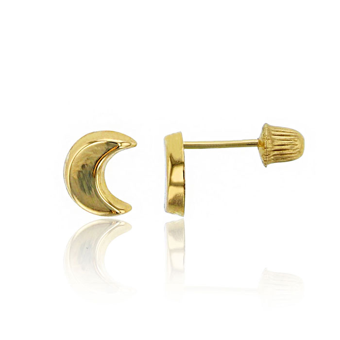 Children's 14K Yellow Gold Love You To The Moon Stud Earrings