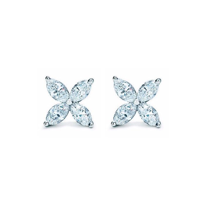 2ct Diamond Cluster Earrings in Platinum with Optional French Screw Back Cli..