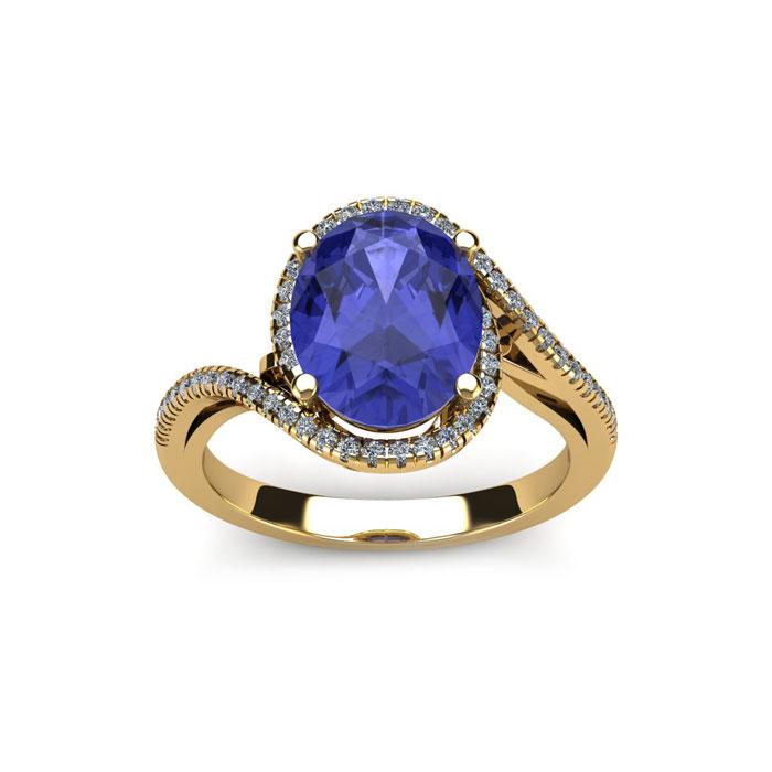 1 1/4 Carat Oval Shape Tanzanite and Halo Diamond Ring In 14 Karat Yellow Gold