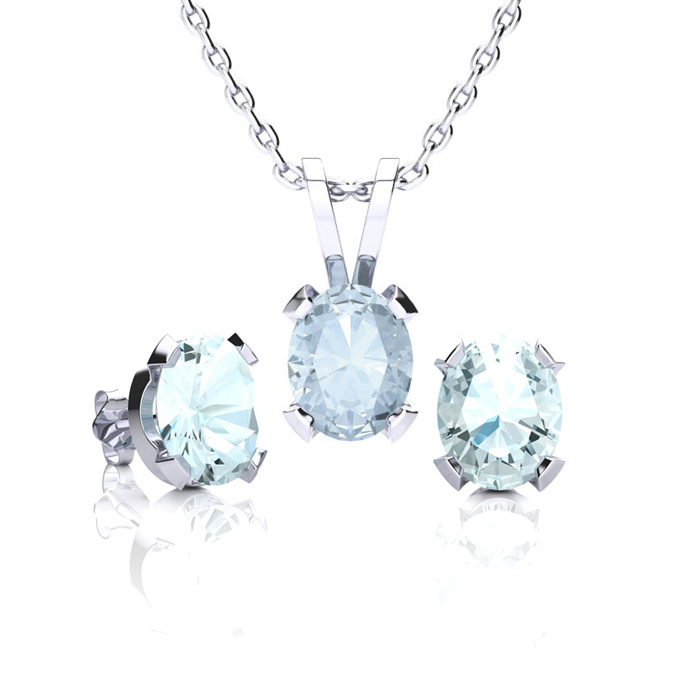 1 1/3 Carat Oval Shape Aquamarine Necklace and Earring Set In Sterling Silver