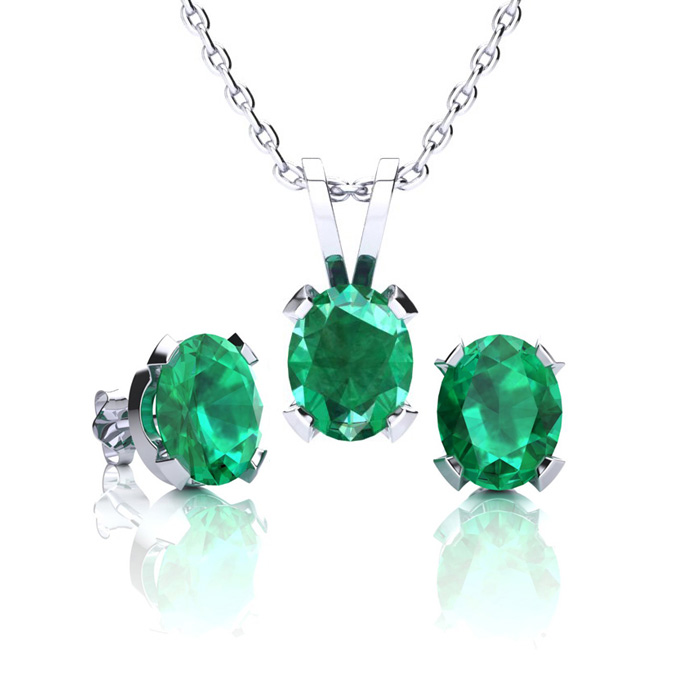 1 1/3 Carat Oval Shape Emerald Necklace and Earring Set In Sterling Silver