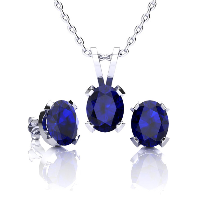 September Birthstone and The Most Popular Gemstone In The World! 1 3/4 Carat Oval Shape Sapphire Necklace and Earring Set In Sterling Silver
