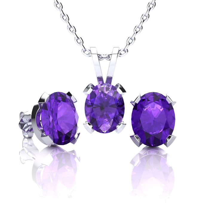 2 Carat Oval Shape Amethyst Necklace And Earring Set In Sterling Silver