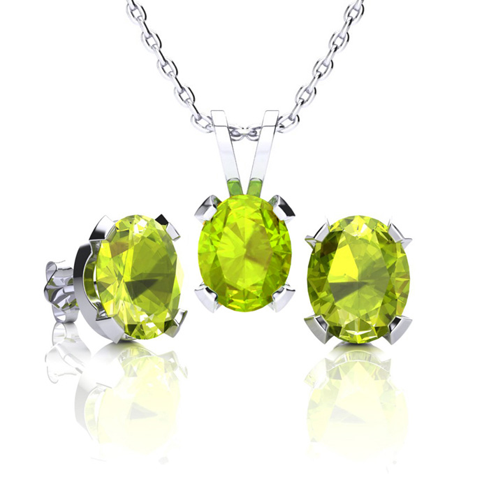 2 3/4 Carat Oval Shape Peridot Necklace And Earring Set In Sterling Silver