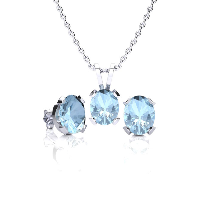 2 1/2 Carat Oval Shape Aquamarine Necklace and Earring Set In Sterling Silver