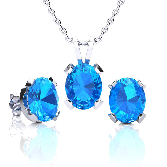 4 1/2 Carat Oval Shape Blue Topaz Necklace And Earring Set In Sterling Silver