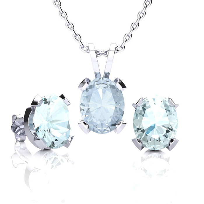 3 1/2 Carat Oval Shape Aquamarine Necklace and Earring Set In Sterling Silver