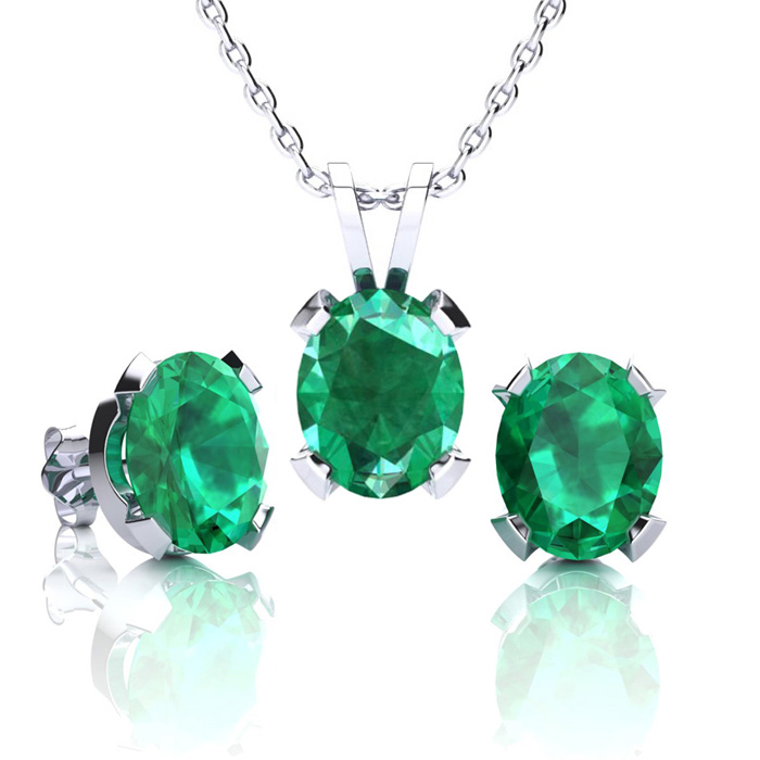 3 1/2 Carat Oval Shape Emerald Necklace and Earring Set In Sterling Silver