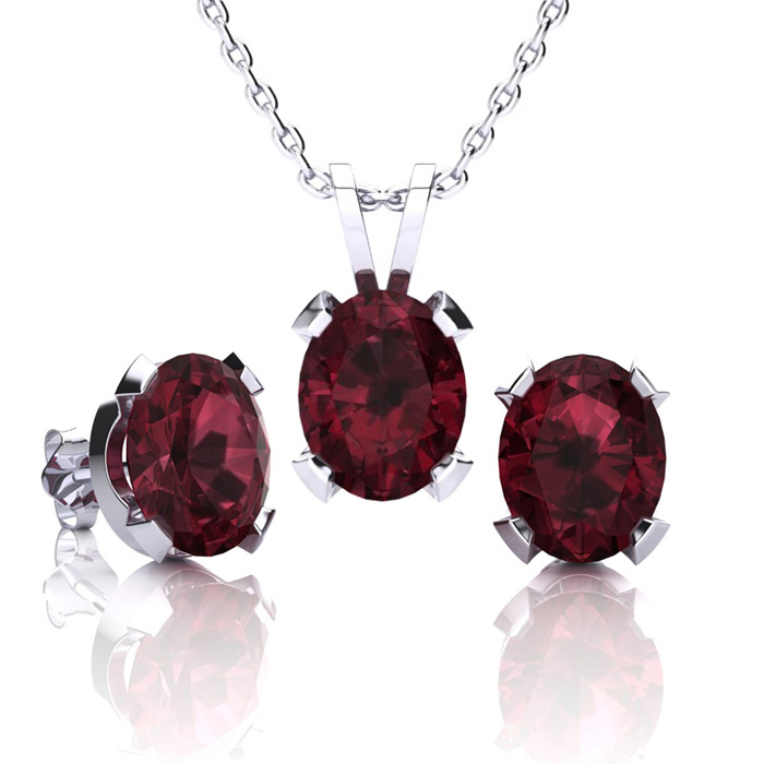4 1/2 Carat Oval Shape Garnet Necklace And Earring Set In Sterling Silver