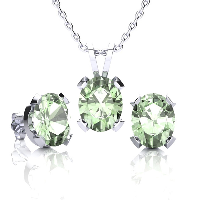 3 Carat Oval Shape Green Amethyst Necklace and Earring Set In Sterling Silver