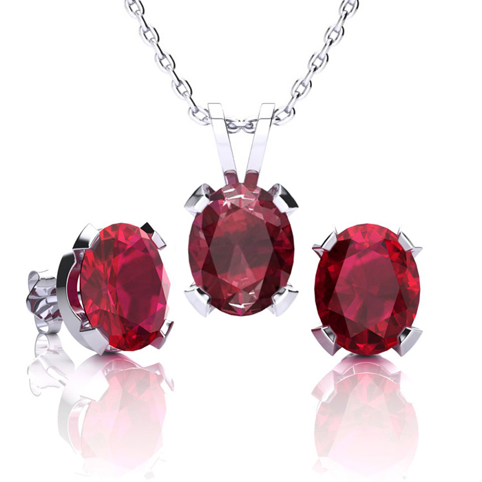 4 1/2 Carat Oval Shape Ruby Necklace And Earring Set In Sterling Silver