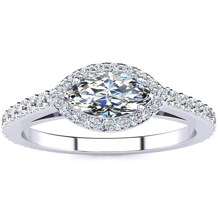 3/4 Carat Marquise Shape Halo Diamond Engagement Ring In 14 Karat White Gold