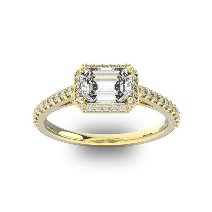 1 1/3 Carat Emerald Shape Halo Diamond Engagement Ring In 14 Karat Yellow Gold