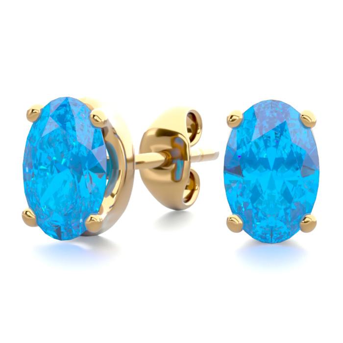 1 Carat Oval Shape Blue Topaz Stud Earrings In 14k Yellow Gold Over Sterling Silver