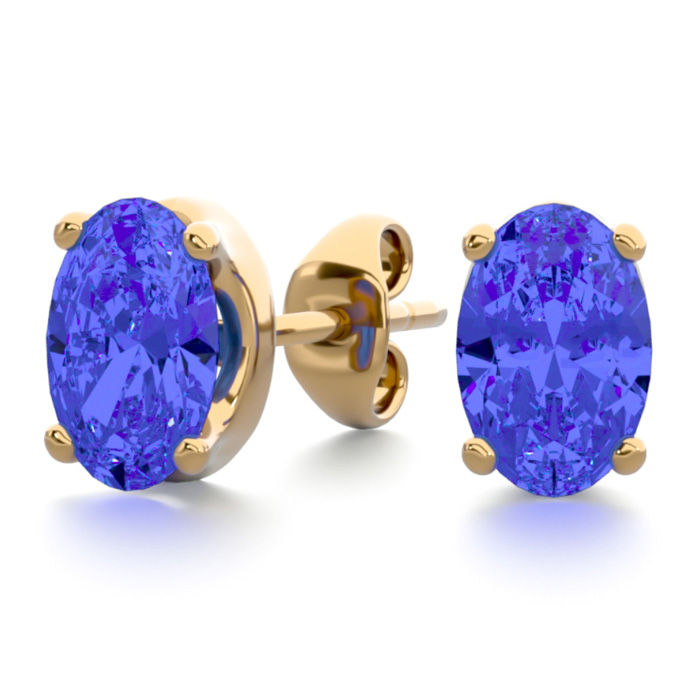 1 Carat Oval Shape Tanzanite Stud Earrings In 14k Yellow Gold Over Sterling Silver