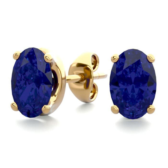 1 Carat Oval Shape Sapphire Stud Earrings In 14k Yellow Gold Over Sterling Silver