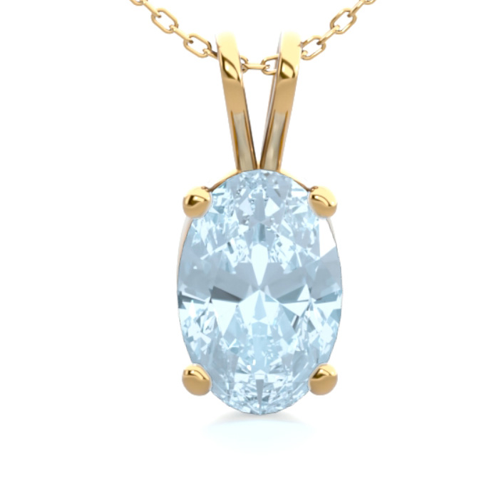 1/2 Carat Oval Shape Aquamarine Necklace In 14K Yellow Gold Over Sterling Si..