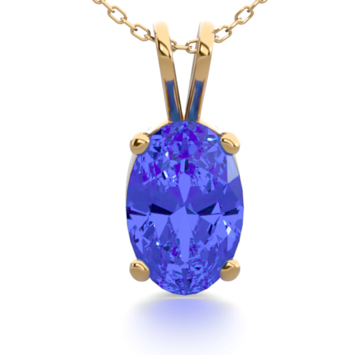 1/2 Carat Oval Shape Tanzanite Necklace In 14k Yellow Gold Over Sterling Silver, 18 Inches