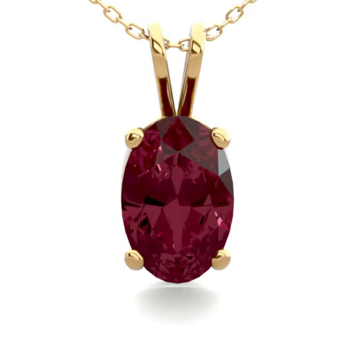 1/2 Carat Oval Shape Garnet Necklace In 14k Yellow Gold Over Sterling Silver, 18 Inches