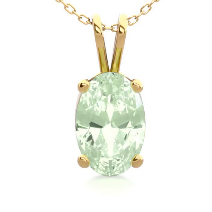 1/2 Carat Oval Shape Green Amethyst Necklace In 14k Yellow Gold Over Sterling Silver, 18 Inches