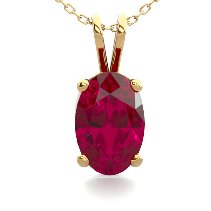 1/2 Carat Oval Shape Ruby Necklace In 14k Yellow Gold Over Sterling Silver, 18 Inches