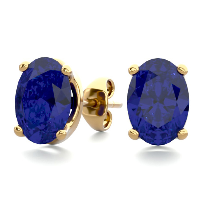 2 Carat Oval Shape Sapphire Stud Earrings In 14k Yellow Gold Over Sterling Silver