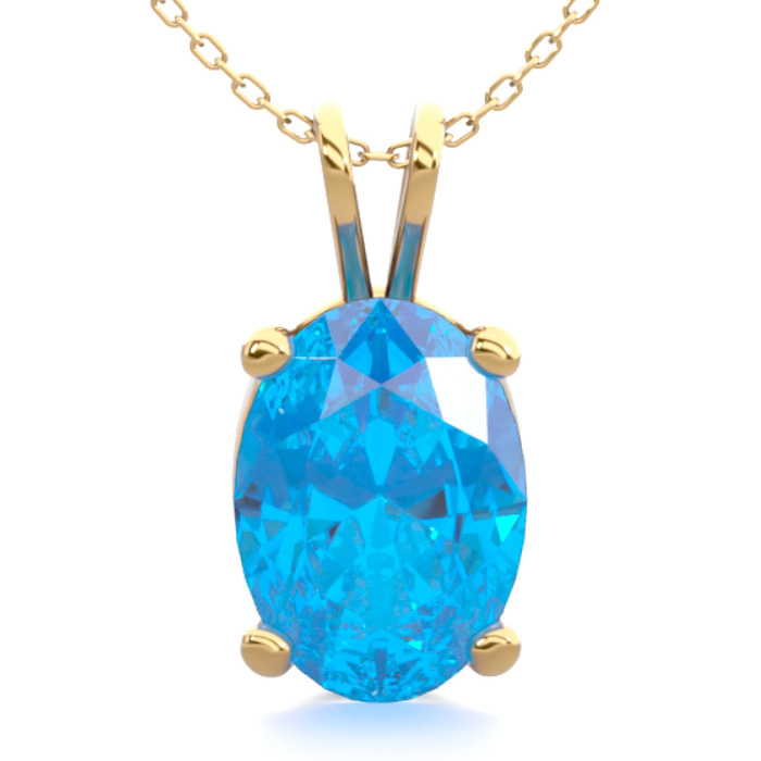 1 Carat Oval Shape Blue Topaz Necklace In 14k Yellow Gold Over Sterling Silver, 18 Inches