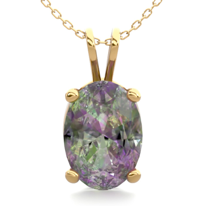 3/4 Carat Oval Shape Mystic Topaz Necklace In 14k Yellow Gold Over Sterling Silver, 18 Inches