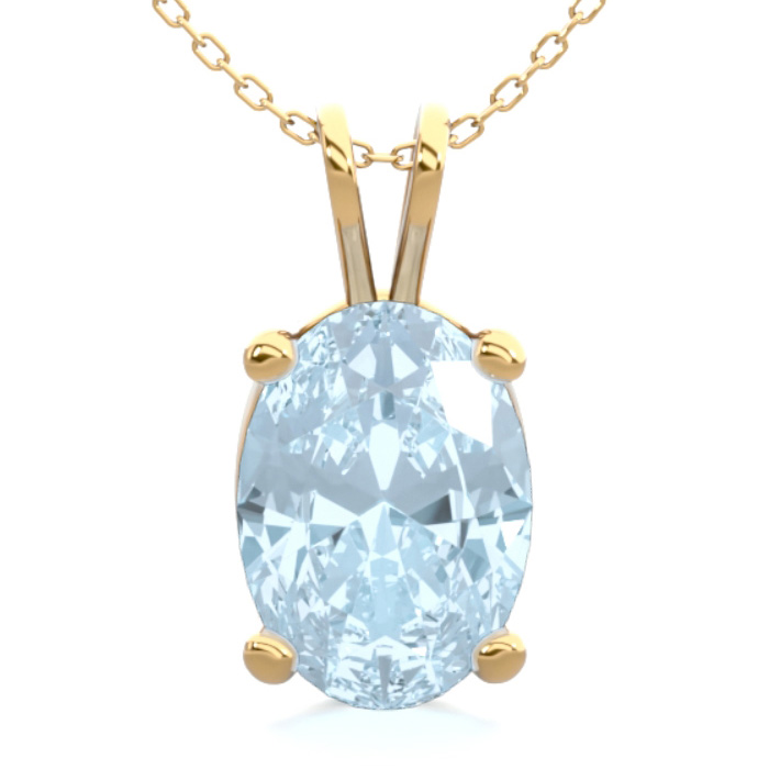 3/4 Carat Oval Shape Aquamarine Necklace In 14K Yellow Gold Over Sterling Si..