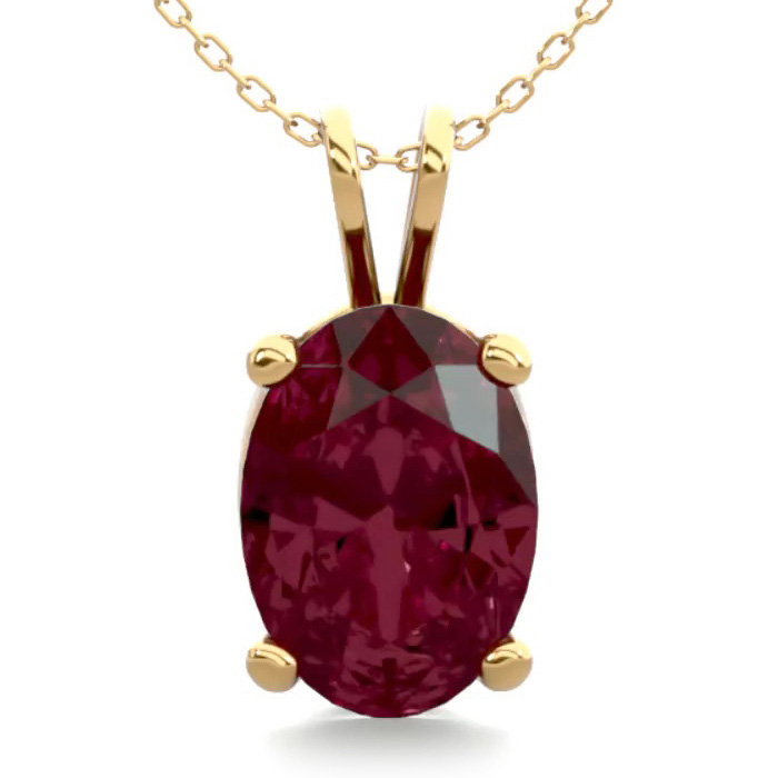 1 Carat Oval Shape Garnet Necklace In 14k Yellow Gold Over Sterling Silver, 18 Inches