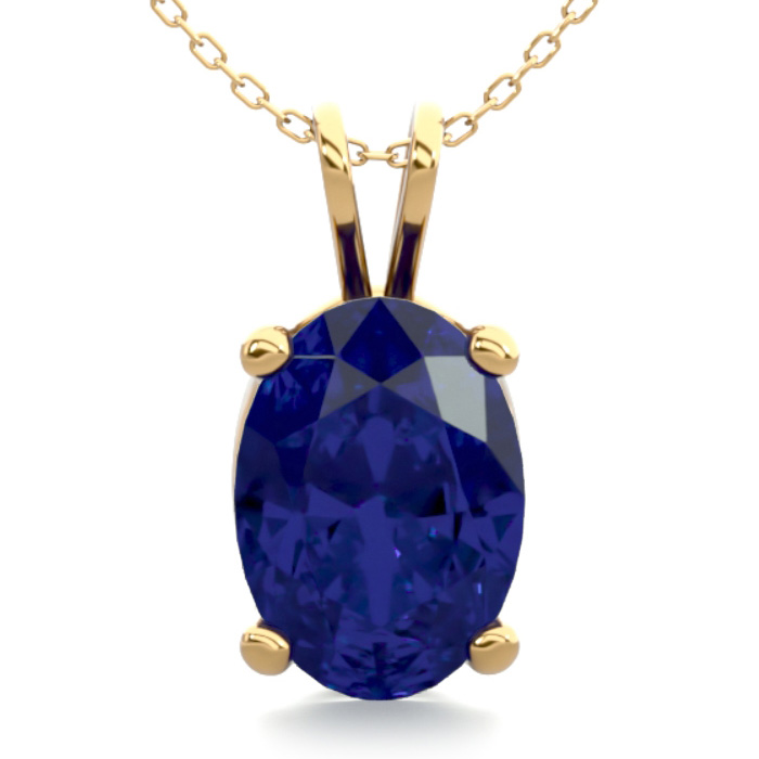 1 Carat Oval Shape Sapphire Necklace In 14k Yellow Gold Over Sterling Silver, 18 Inches