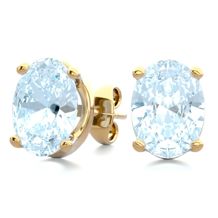 2 1/3 Carat Oval Shape Aquamarine Stud Earrings In 14k Yellow Gold Over Sterling Silver