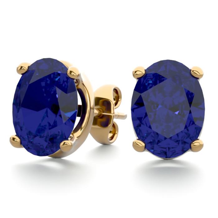 3 Carat Oval Shape Sapphire Stud Earrings In 14k Yellow Gold Over Sterling Silver