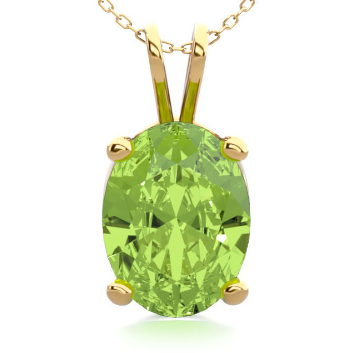 1 1/3 Carat Oval Shape Peridot Necklace In 14k Yellow Gold Over Sterling Silver, 18 Inches