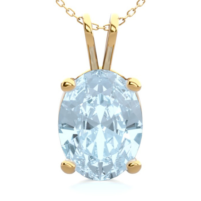 1 Carat Oval Shape Aquamarine Necklace In 14K Yellow Gold Over Sterling Silv..