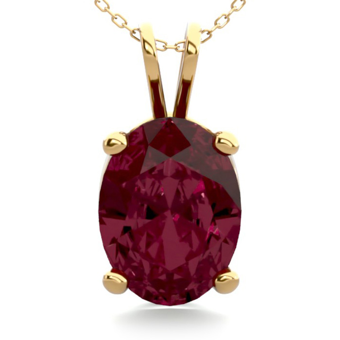 1 1/2 Carat Oval Shape Garnet Necklace In 14k Yellow Gold Over Sterling Silver, 18 Inches