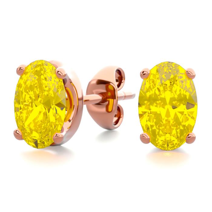 1 Carat Oval Shape Citrine Stud Earrings In 14k Rose Gold Over Sterling Silver
