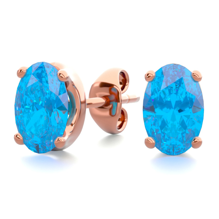 1 Carat Oval Shape Blue Topaz Stud Earrings In 14k Rose Gold Over Sterling Silver
