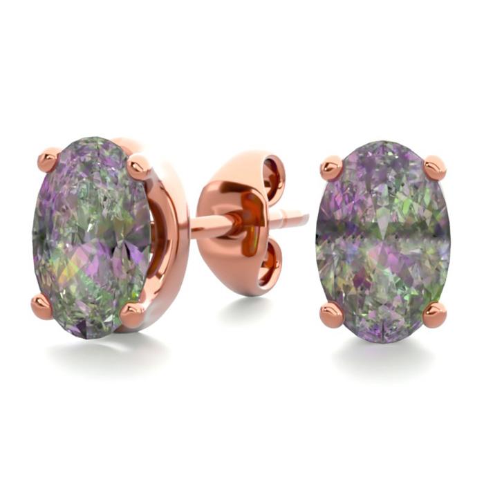 1 Carat Oval Shape Mystic Topaz Stud Earrings In 14k Rose Gold Over Sterling Silver