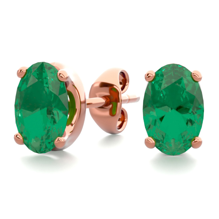 1 Carat Oval Shape Emerald Stud Earrings In 14K Rose Gold Over Sterling Silver