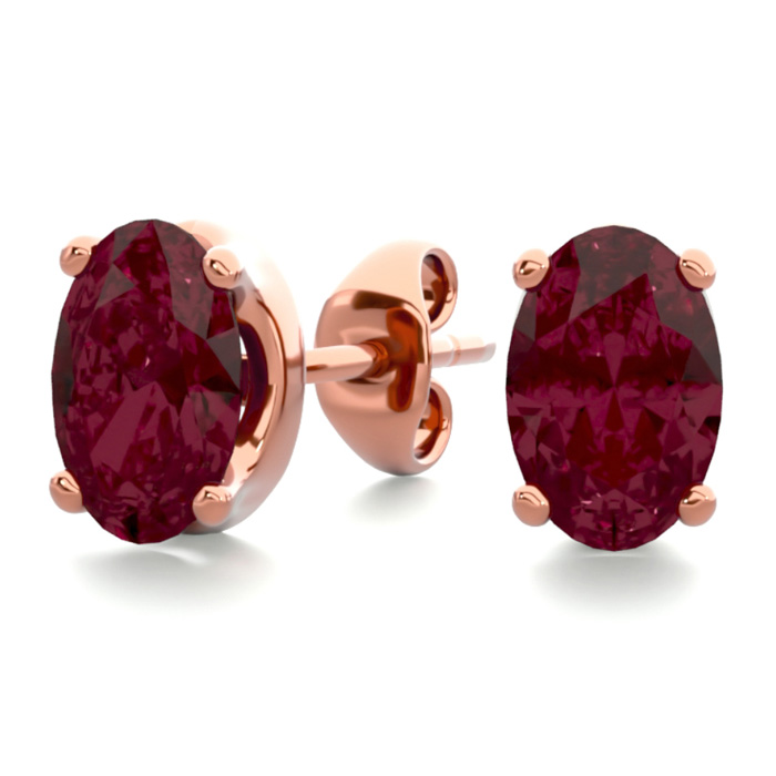 1 Carat Oval Shape Garnet Stud Earrings In 14k Rose Gold Over Sterling Silver