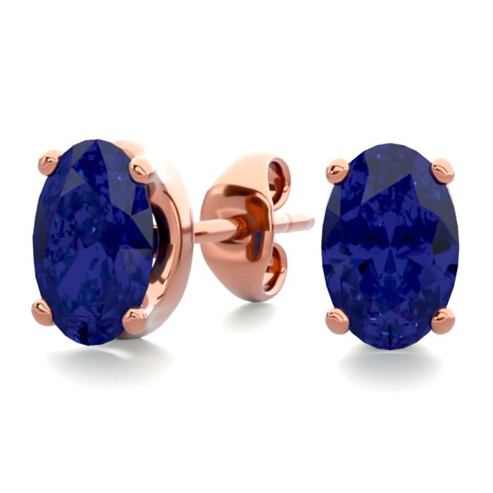 1 Carat Oval Shape Sapphire Stud Earrings In 14k Rose Gold Over Sterling Silver