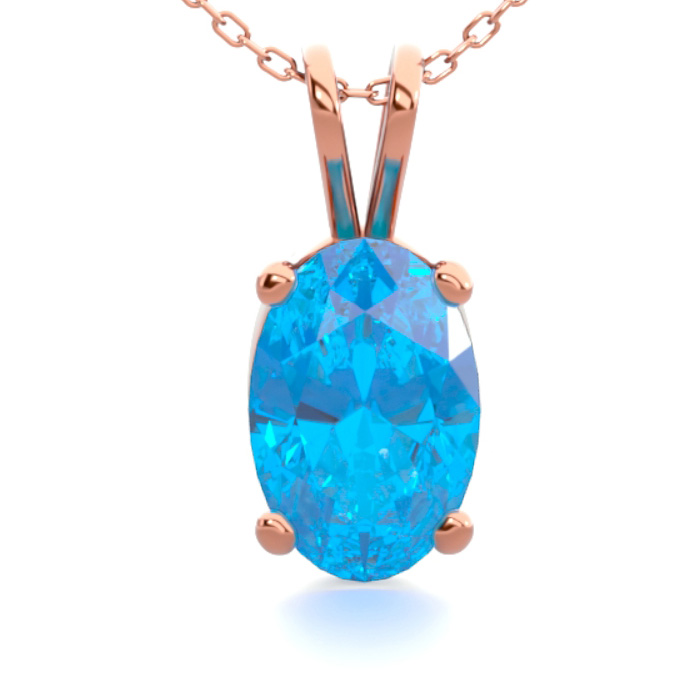 1/2 Carat Oval Shape Blue Topaz Necklace In 14k Rose Gold Over Sterling Silver, 18 Inches