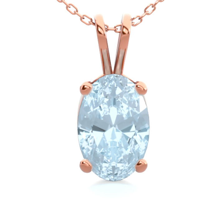 1/2 Carat Oval Shape Aquamarine Necklace In 14K Rose Gold Over Sterling Silv..