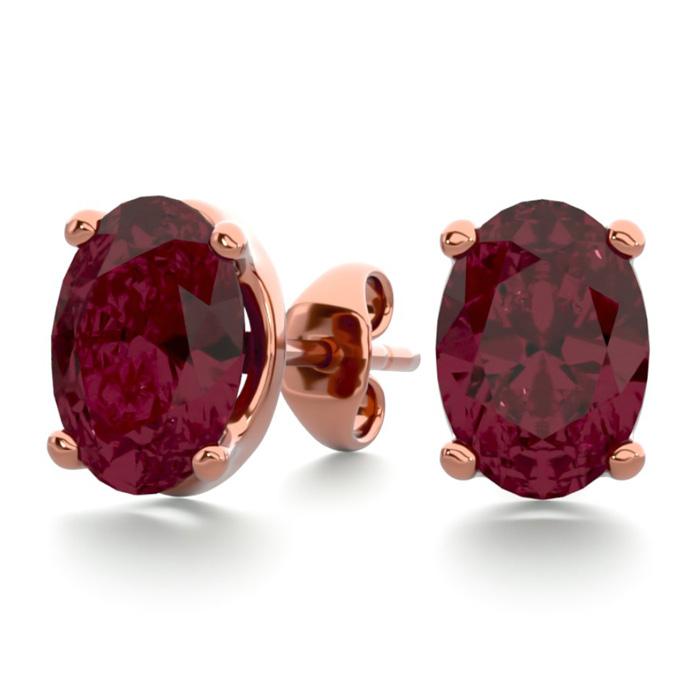2 Carat Oval Shape Garnet Stud Earrings In 14k Rose Gold Over Sterling Silver