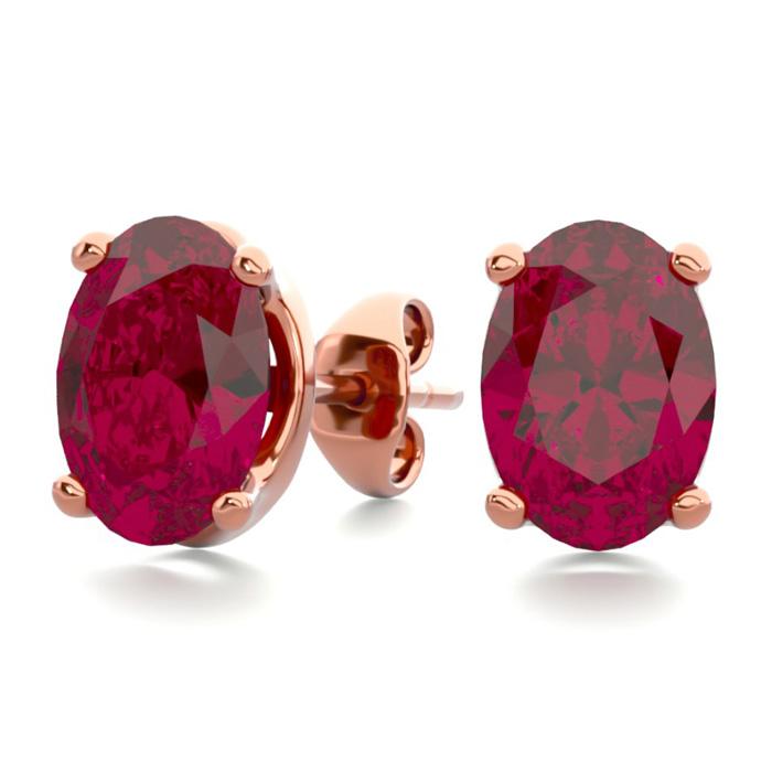 2 Carat Oval Shape Ruby Stud Earrings In 14k Rose Gold Over Sterling Silver